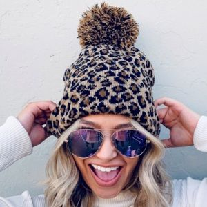 Knit Leopard Print Beanie with Pom Pom